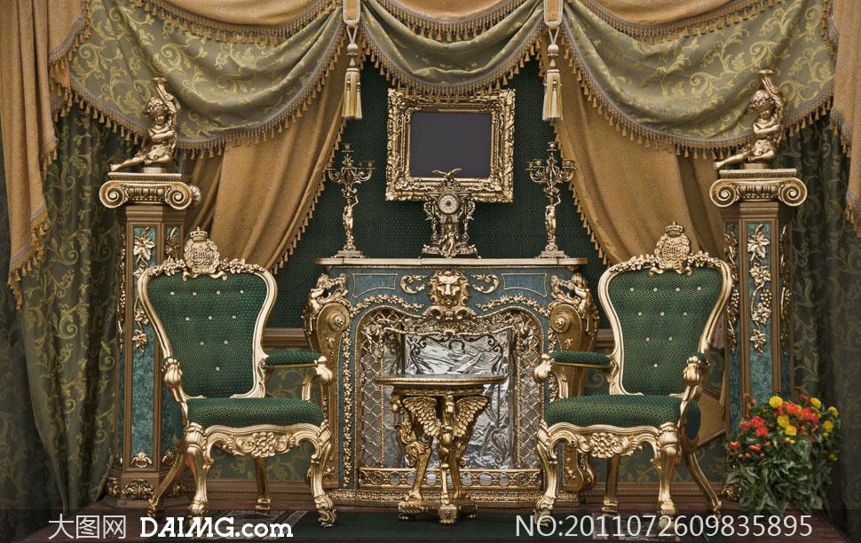 布置欧洲风格家具家居复古装饰装潢装修场景房间华贵椅子花卉幕布流苏