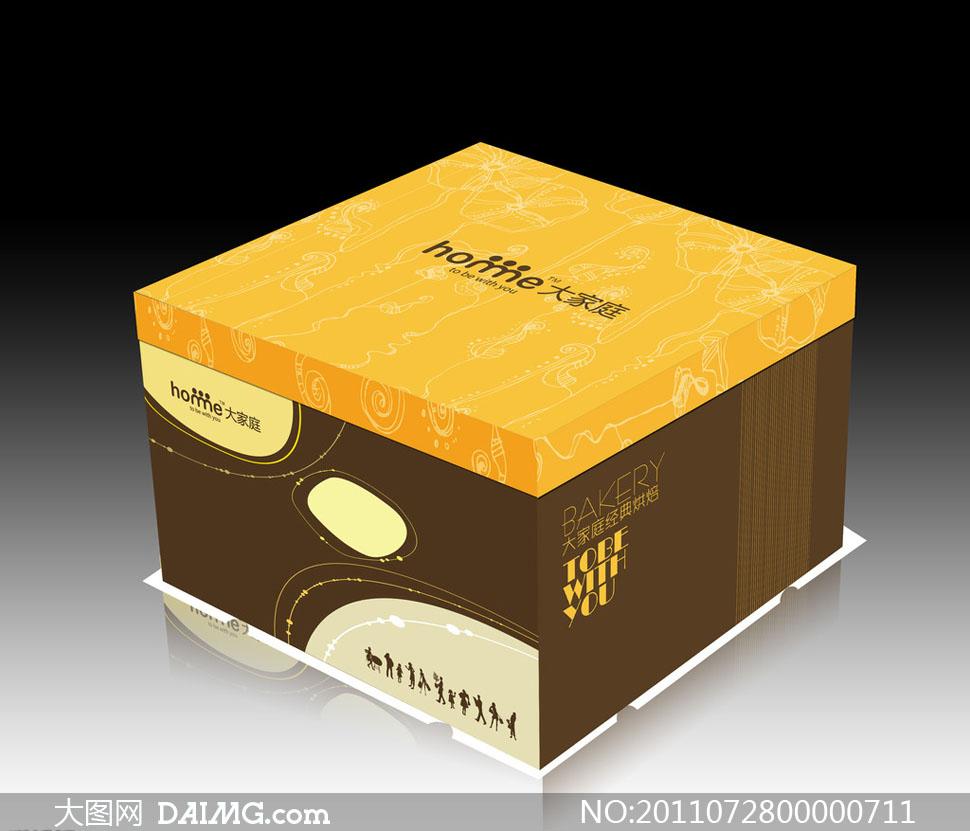 蛋糕盒包装设计矢量素材