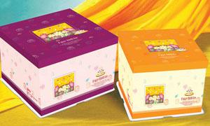 蛋糕包装盒展开图PSD源文件