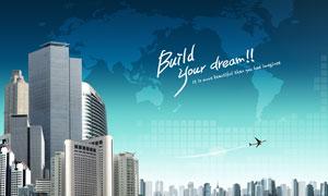 城市建筑物世界地图创意PSD分层素材