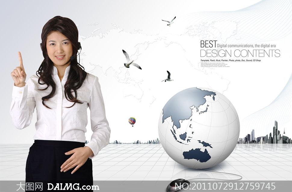 客服人物手势与地球创意PSD分层素材