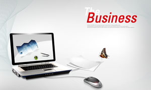 笔记本电脑白纸蝴蝶PSD分层素材