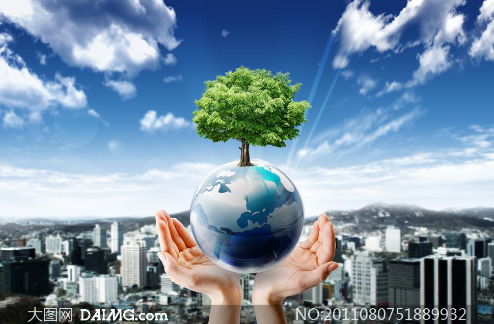 双手托着地球创意设计psd分层素材图片