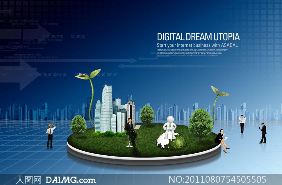 绿色草地圆盘创意设计PSD分层素材