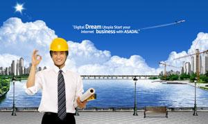 做OK手势的建筑物工程师PSD分层素材