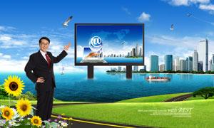 矗立在海水中的户外广告牌PSD分层素材