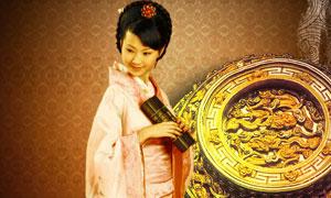 中国风房地产美女人物PSD分层素材