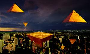 悬浮在城市上空的金字塔PSD分层素材