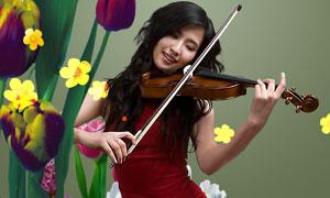 拉小提琴的红衣女子PSD分层素材