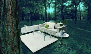 树林中的沙发茶几PSD分层素材