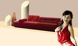 粉笔头沙发与美女人物PSD分层素材