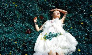 躺在草地上的白纱裙美女PSD分层素材