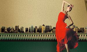 红裙女子与古典建筑物PSD分层素材