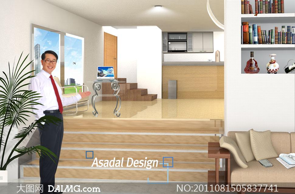 室内房间书架等物件摆设psd分层素材 - 大图网设计