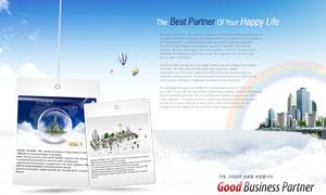 建筑物彩虹吊牌热气球PSD分层素材
