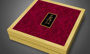 茶山食府月饼盒设计矢量素材