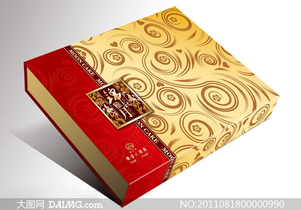 月饼包装展开图礼品包装纹样素材金色包装设计心形