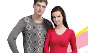 男女模特展示保暖内衣高清图片
