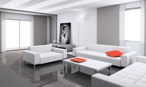 宽敞明亮室内客厅效果图高清图片