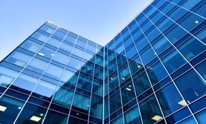 建筑物蓝色玻璃幕墙高清摄影图片