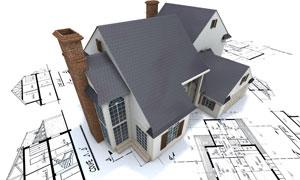 房屋建设施工图纸与模型创意高清图片