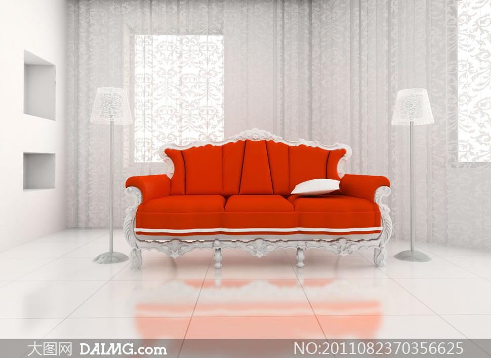 室内欧式窗帘与沙发高清摄影图片-大图网设计素材手绘园林景观设计图片图片