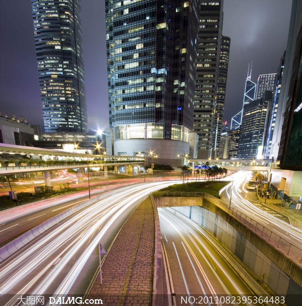 香港繁华商业区夜景风光高清摄影图片