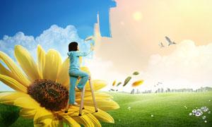 站在向日葵上给天空上色的女孩PSD分层素材