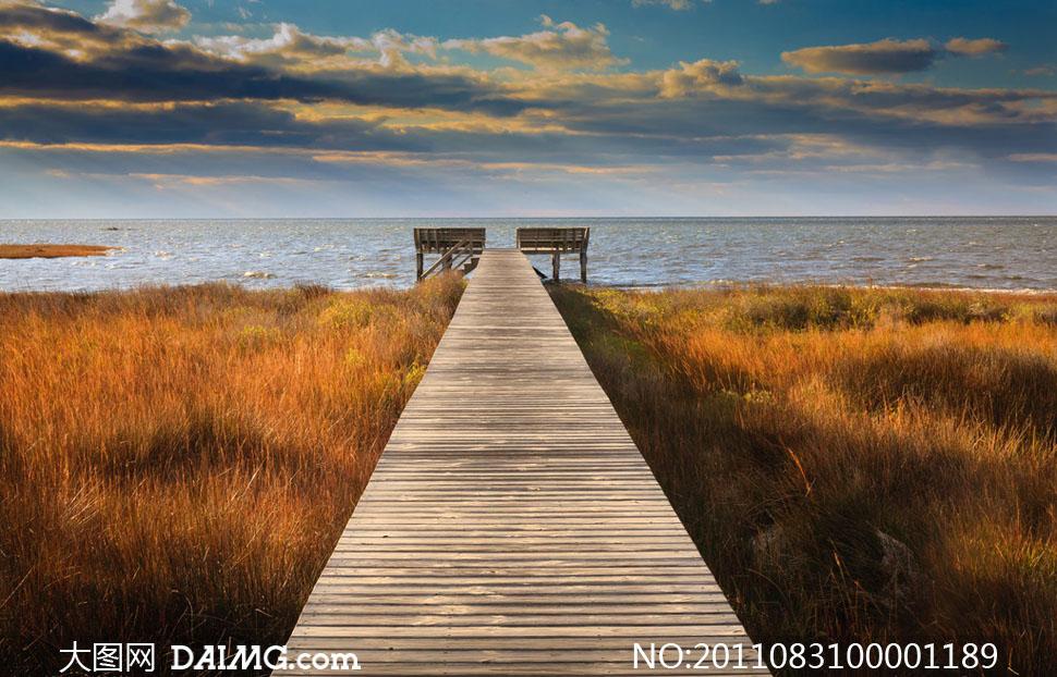 通往海边小码头的桥摄影图片
