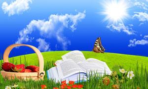 草地上放着的书籍设计图片