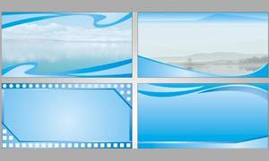蓝色清爽展板设计矢量素材