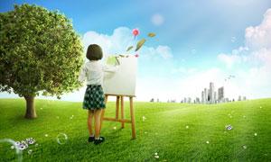 素材 高品质/身穿斜纹格子裙的小女孩写生情景PSD分层素材