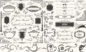 欧式古典怀旧装饰边框元素矢量素材