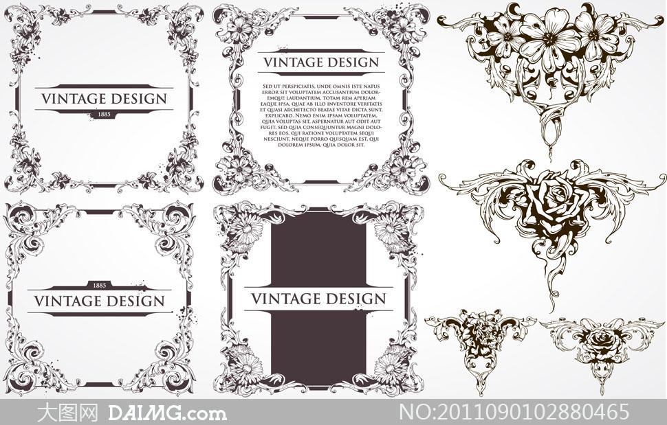 装饰边框复古怀旧欧式古典尊贵高贵元素角花花角边角