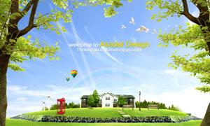 蓝天大树草地房子彩虹热气球PSD分层素材