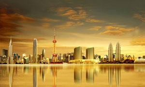 东方明珠国际建筑群金色PSD源文件