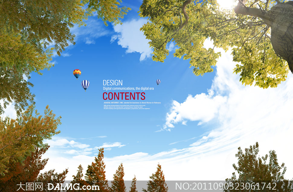 蓝天白云与大树psd分层素材