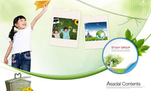 放飞纸飞机的小女孩与标签照片PSD分层素材