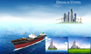 航行在大海上的轮船与城市建筑物PSD分层素材