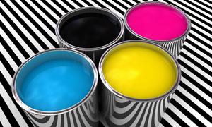 CMYK印刷色彩颜料桶高清摄影图片