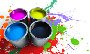 四种颜色的颜料与喷溅效果高清摄影图片