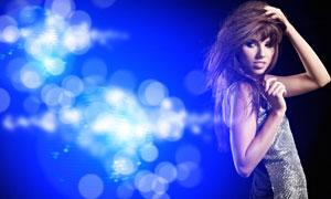 梦幻蓝色光线与美女模特人物高清摄影图片