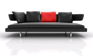 真皮材质的沙发与抱枕高清摄影图片