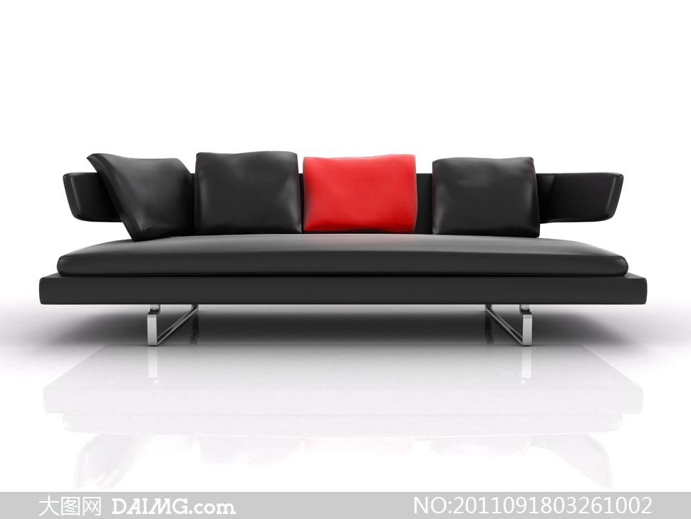 室内家装装饰家具家居陈设摆设沙发真皮抱枕靠垫黑色红色透视图现代