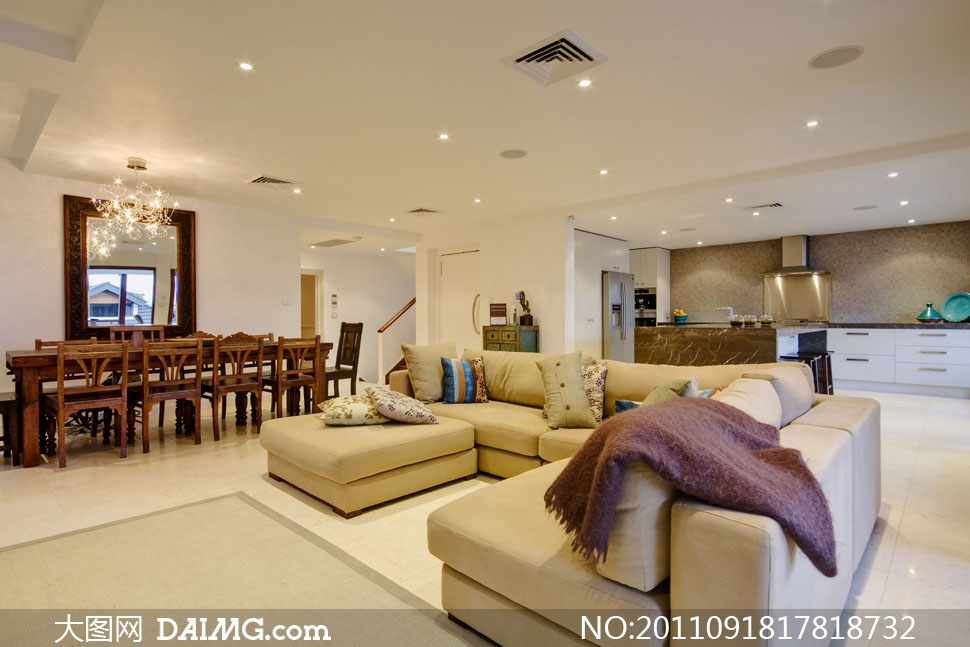 室内豪华厨房餐厅客厅装修高清摄影图片