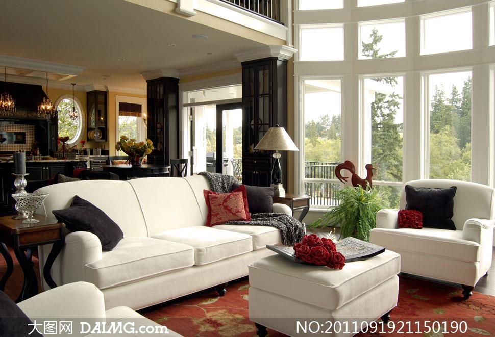 豪华别墅客厅布置陈设高清摄影图片