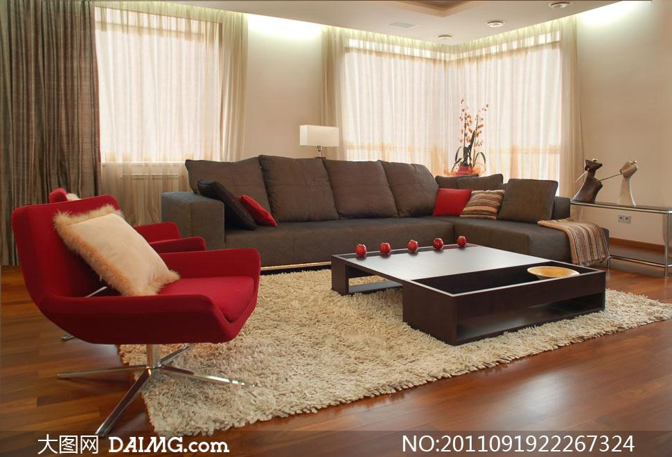 客厅沙发等陈设布置高清摄影图片 - 大图网设计素材