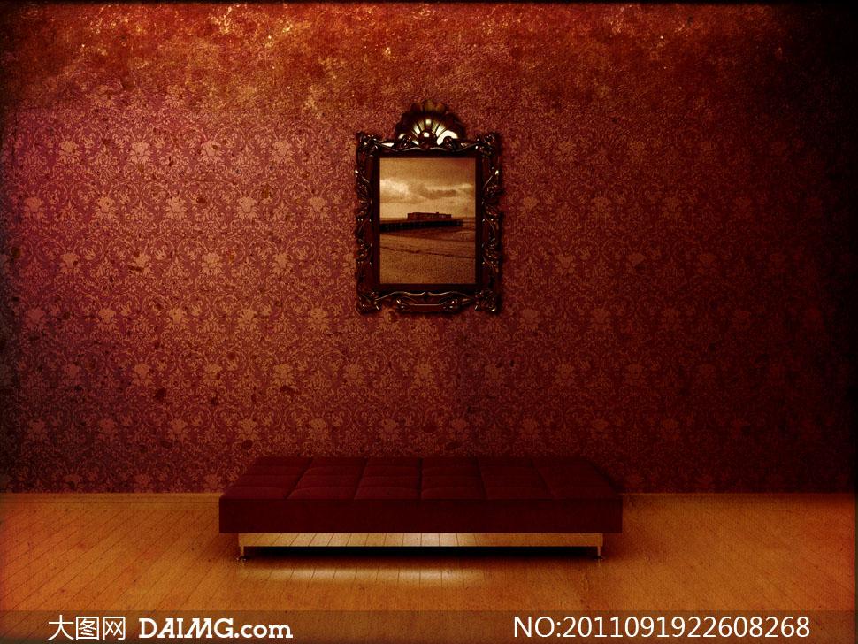 欧式古典怀旧地板墙面墙纸壁纸坐垫昏暗相框金色反光