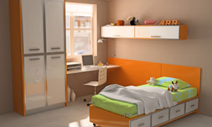 橙色儿童房室内设计高清摄影图片