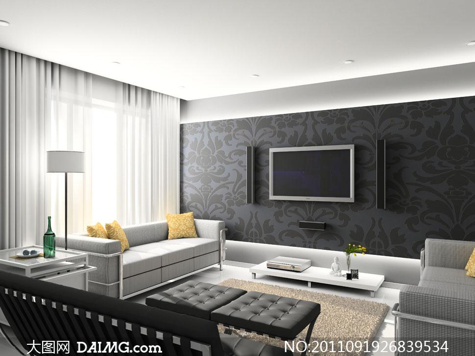 电视墙与客厅家具摆设高清摄影图片图片